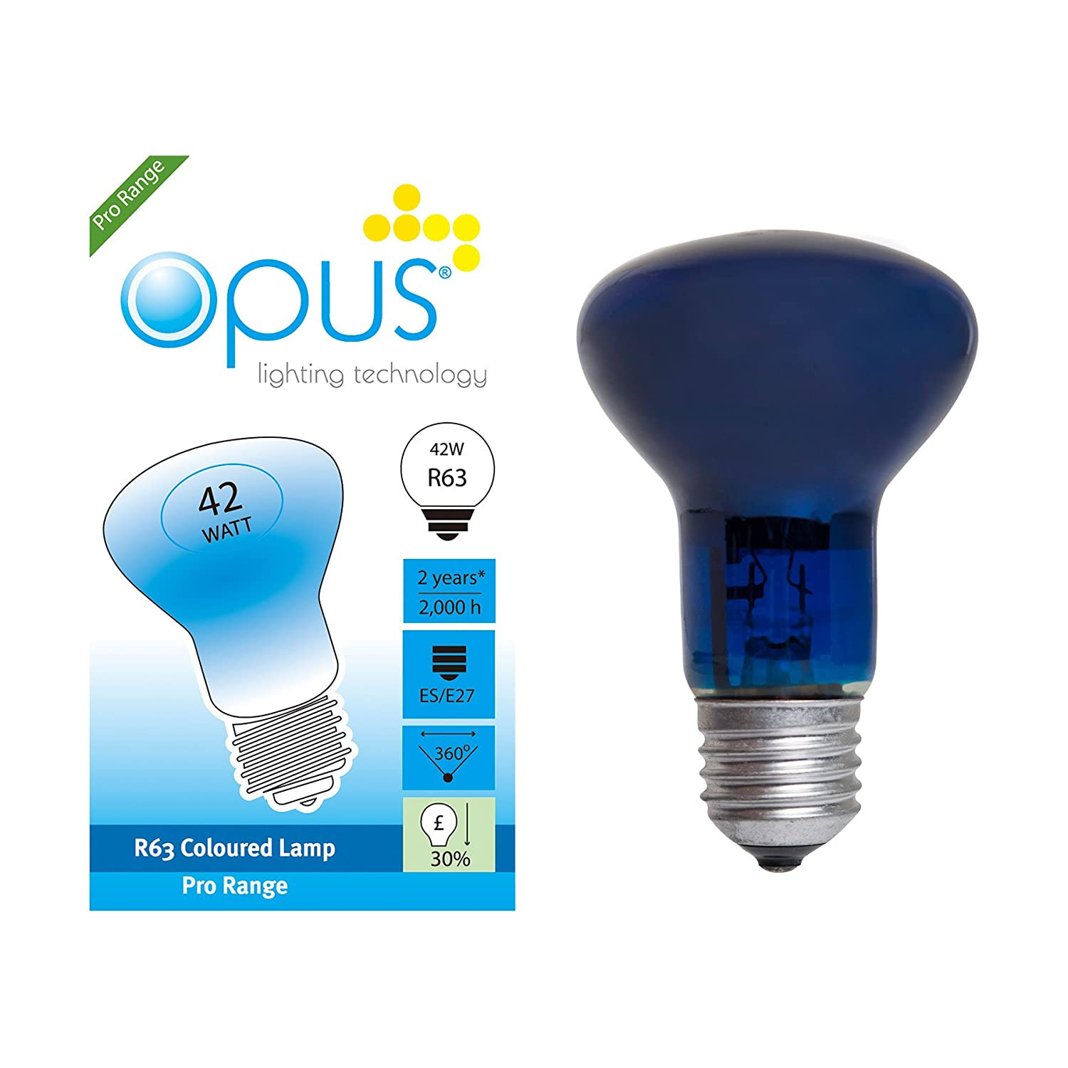 5 x Opus 28w = 40w GLS BC B22 Bayonet Cap Long Life Clear Eco Halogen Light Bulbs Dimmable Energy Saving Lamps Pack