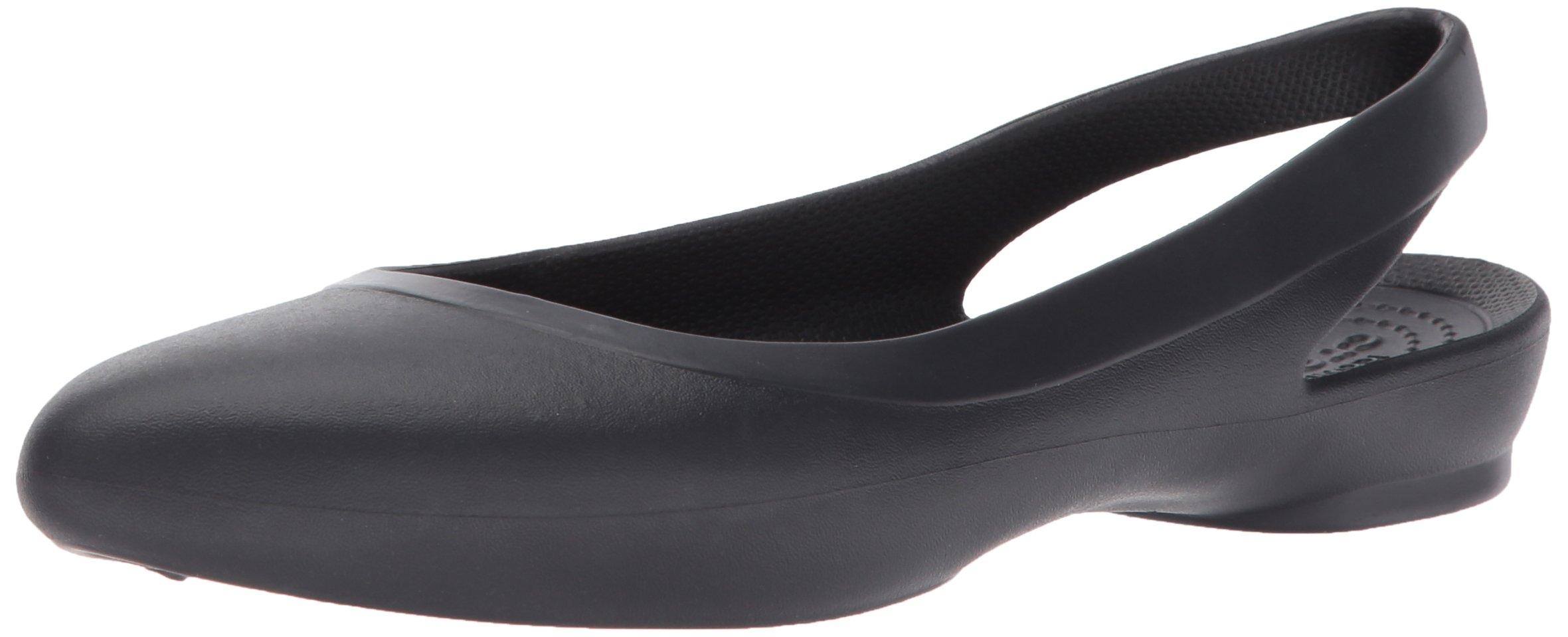Crocs Women's Eve Slingback W Ballet Flat,Black,8 M US