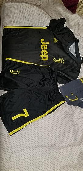 2018-2019 Away Home C Ronaldo #7 Juventus Kids Youth Soccer Jersey & Shorts & Socks Black ????
