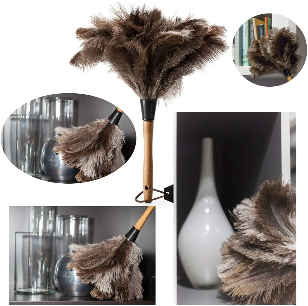 Hemoton 1 Pc Ostrich Feather Duster Wooden Handle Portable Long Handle Cleaning Brush Tool Ostrich Feather Duster for Home Living Room