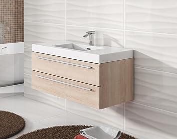 Badezimmer Badmöbel Rome 100 Cm Eiche Hell   Unterschrank Schrank  Waschbecken Waschtisch