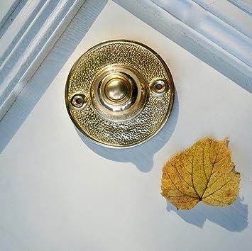 Türklingel rund-schwarz Klingel passend zu Haustür antik Klingelknopf Messing
