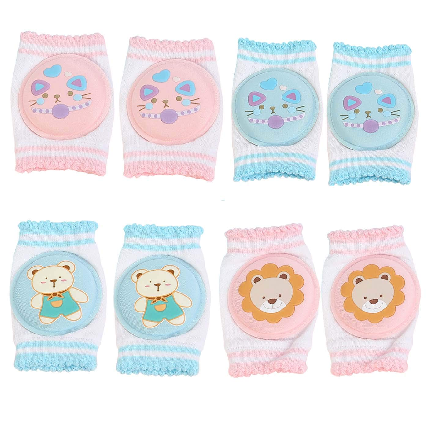 4 Pairs Baby Crawling Knee Pads,Crawling Walking Knee pads Knee Protection Pads for Toddler (002)