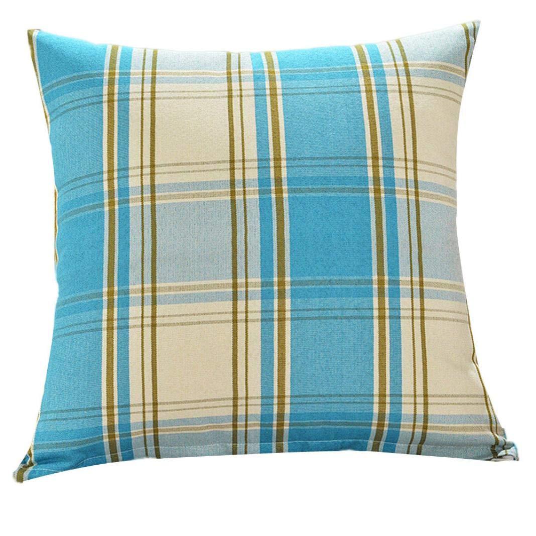 KIKOY Colorful Stripe Grid Print Fashion Throw Pillow Cases Cafe Sofa Cushion Cover45cm45cm (Sky Blue)