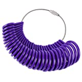 Shappy 27 Pieces Plastic Ring Sizer Gauges A-Z Finger Sizer Measuring Ring Tool Jewellery Kit (Purple)