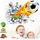 Soccer Wall Decals 3D Flame Soccer Ball Wall