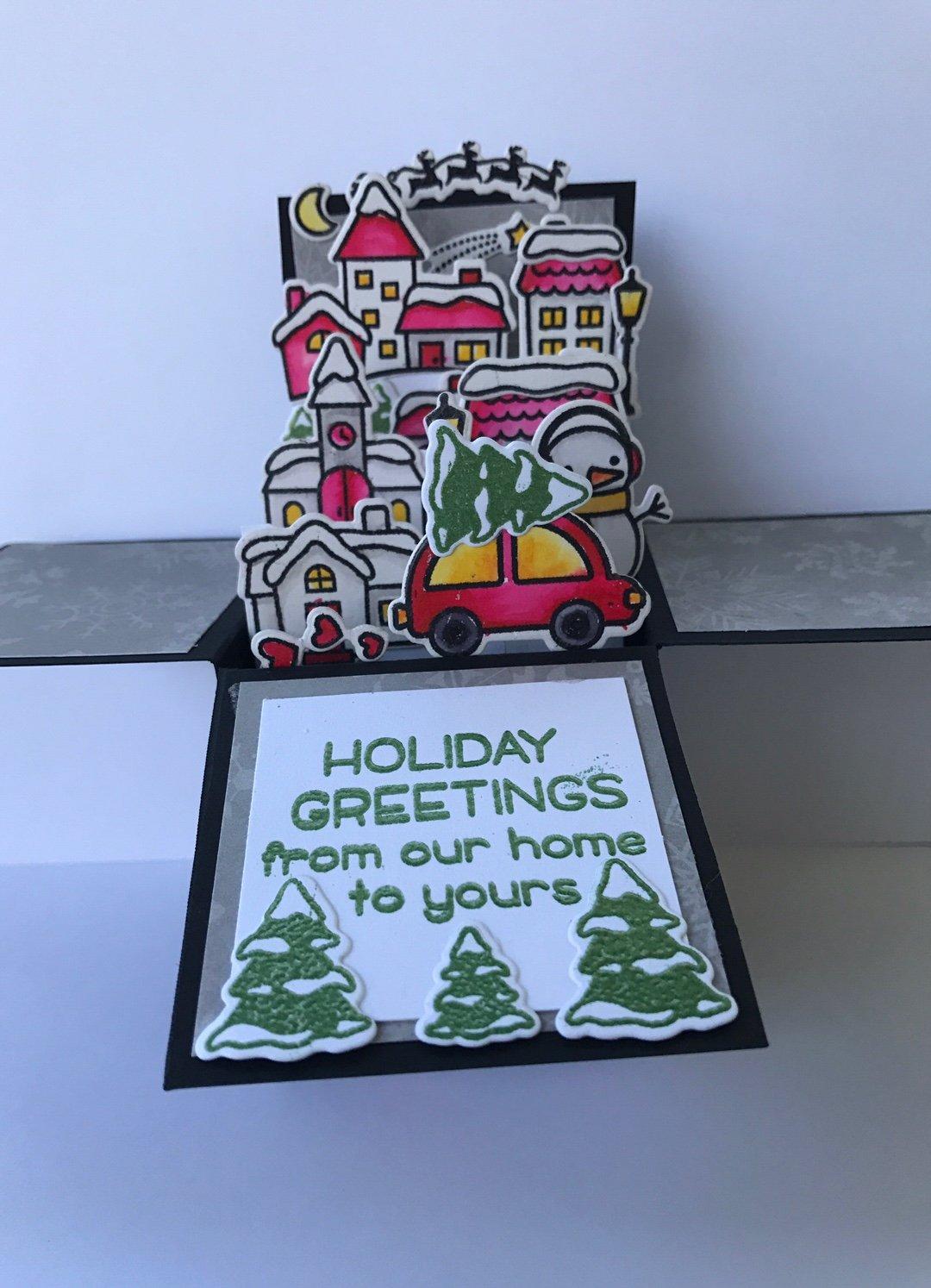 Amazon.com: 3D Christmas pop up box card - 3d watercolor Christmas ...
