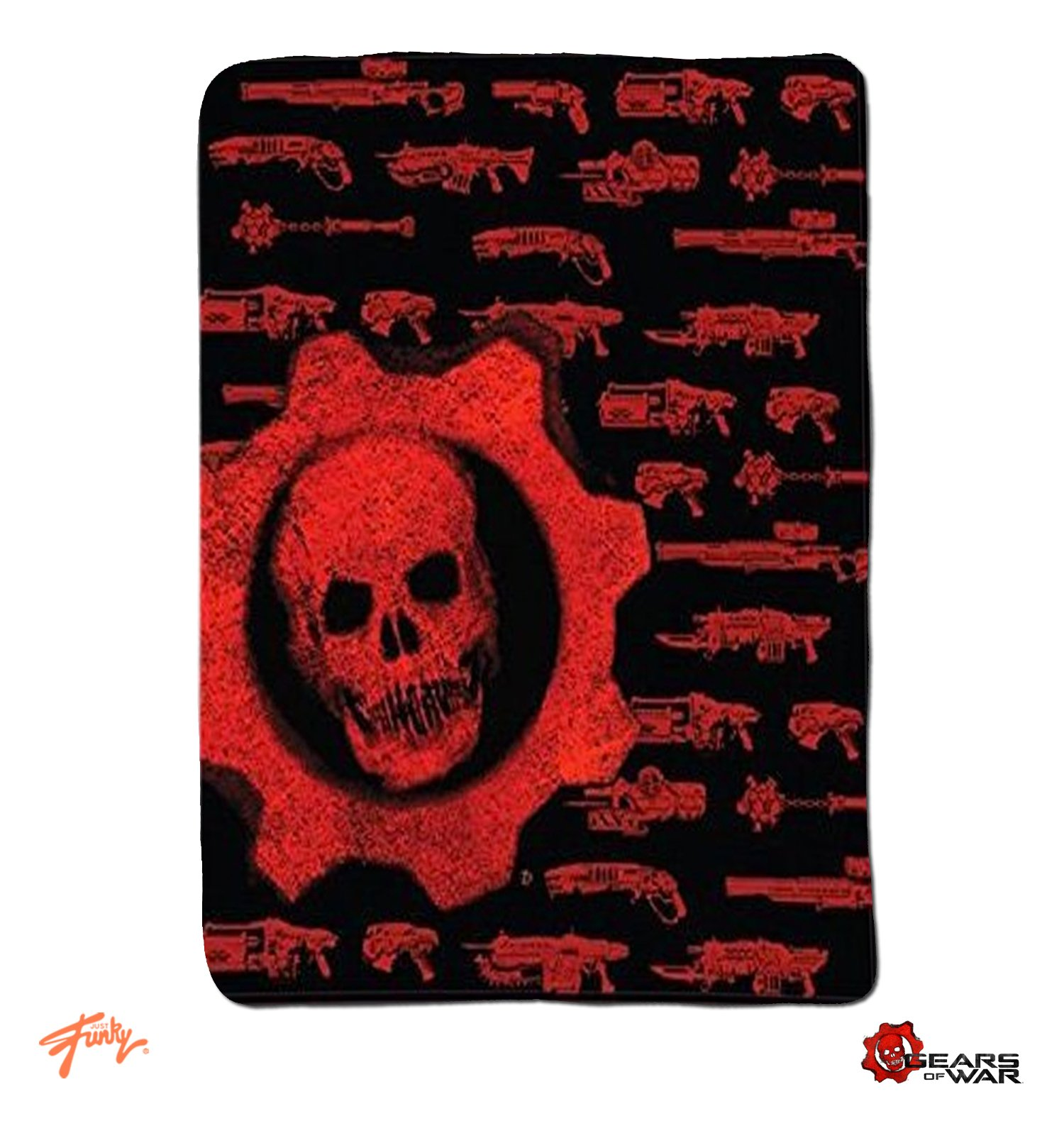 JUST FUNKY OFFICIAL Gears of War (Xbox Game) Skull & Weapons Fleece Throw Blanket/Tapestries Decorative Wall Hanging - Gift, Sofa/Bed Kids Blanket, 50''x60''