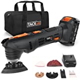 Multifunction Tool 18V, Tacklife PMT03B Cordless Oscillating Tool, 2.0Ah Lithium-Ion Battery, 1 Hour Fast Charge, 6 Virable Speed for Grout Removing, Scraping, Cutting and Polishing, 24pcs Accessories and Carrying Bag Included