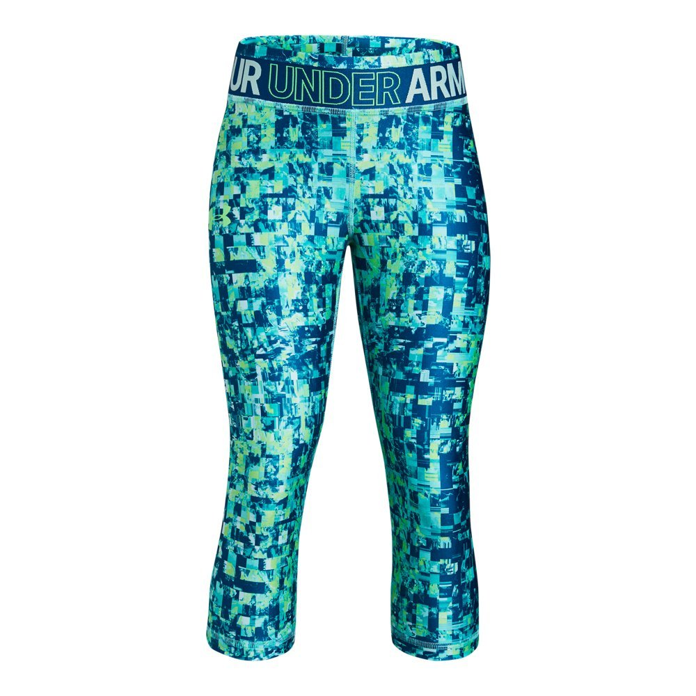 Under Armour Girls' HeatGear Armour Novelty Capris, Tropical Tide (426)/Arena Green, Youth Small