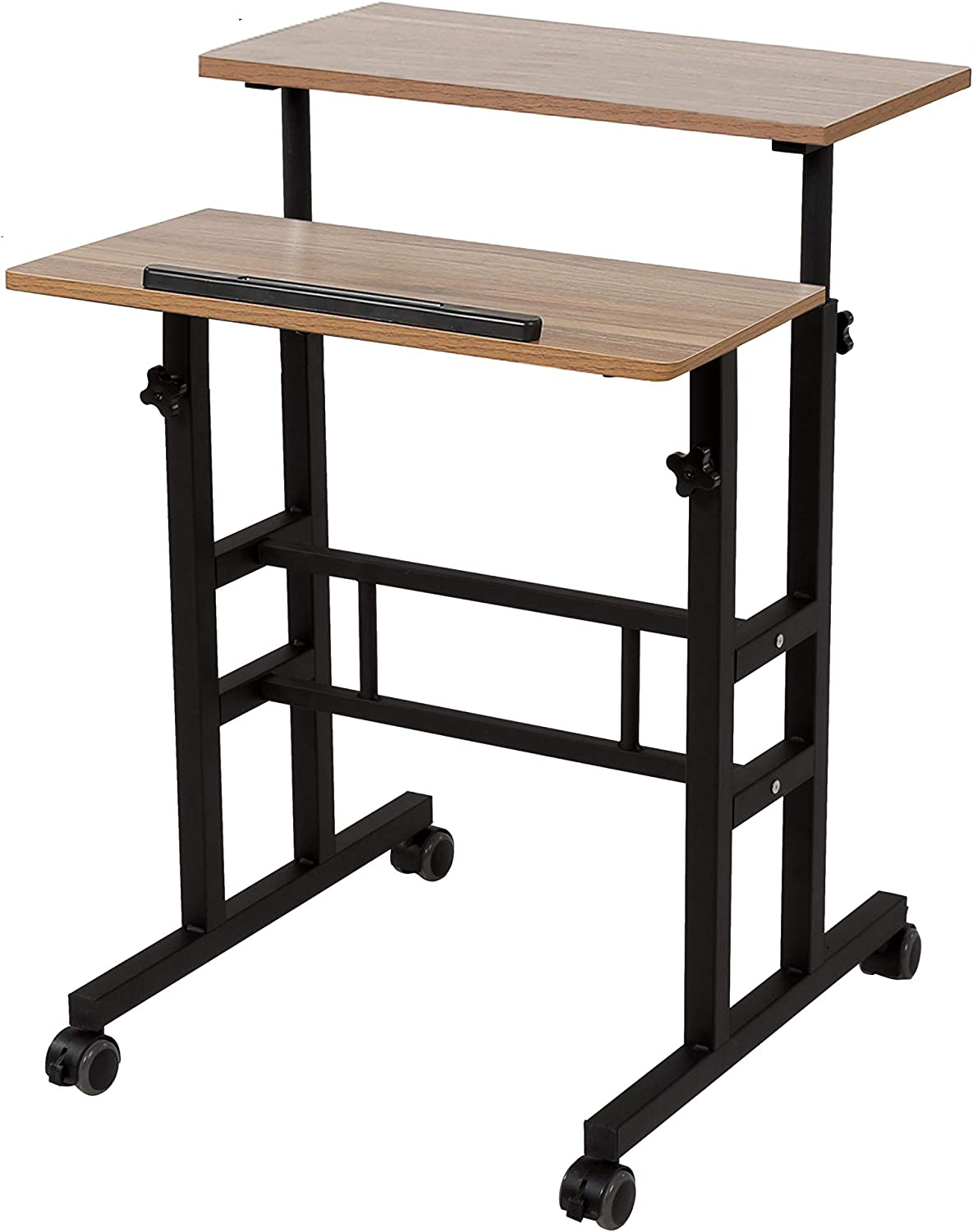 SDADI 2 Inches Carpet Wheels Mobile Standing Desk Stand Up Desk Height Adjustable Home Office Desk with Standing and Seating 2 Modes 3.0 Edition,Oak S001BFDT