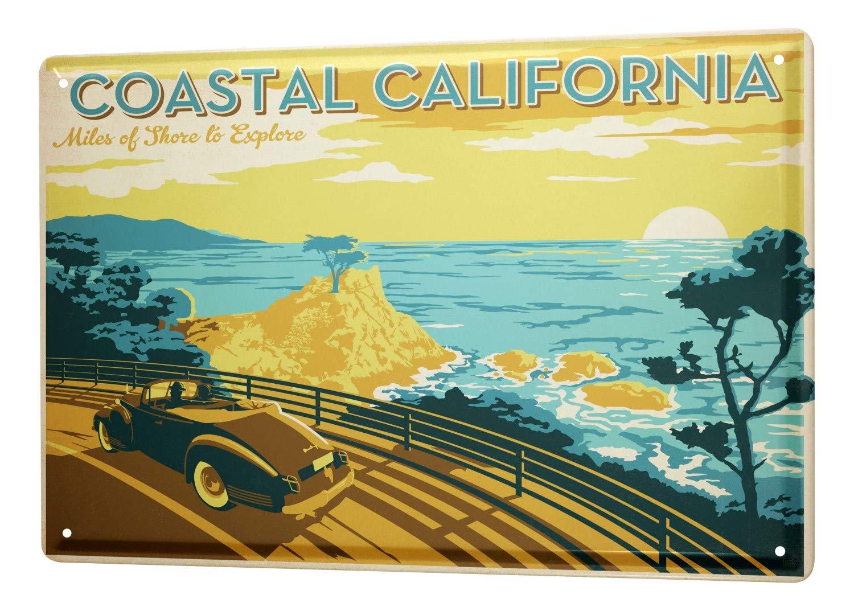 Plaque /Émaill/ée Voyage Autour Du Monde Californie route c/ôti/ère voiture mer coucher de soleil Signes D/écorative 20X30 cm