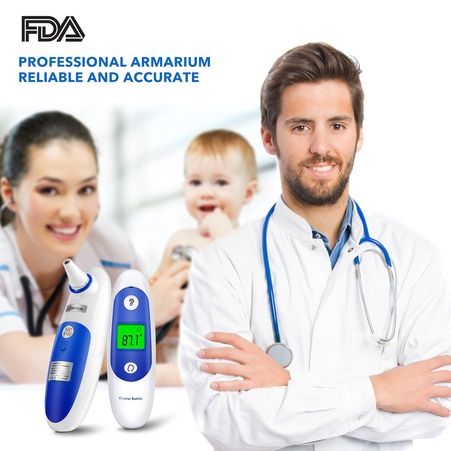 Medical Forehead and Ear Thermometer, Crystal Rabbit Infrared Digital  Thermometer Suitable For