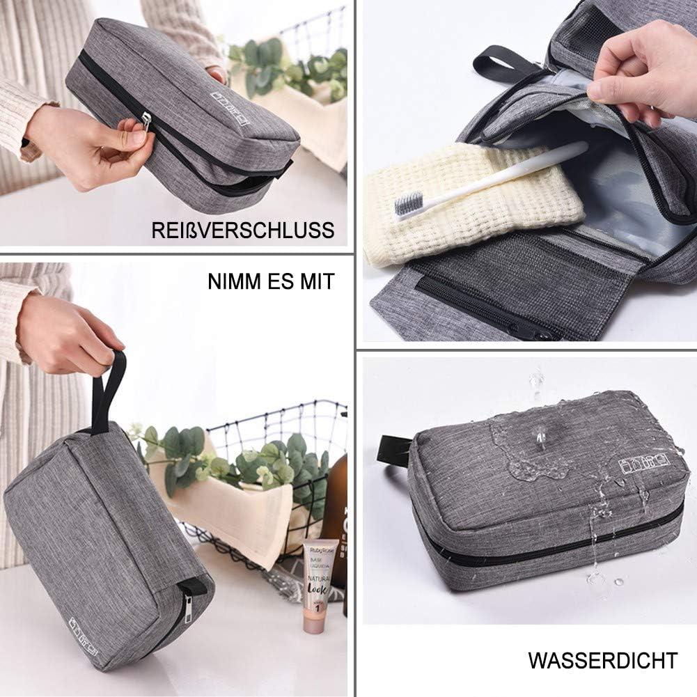 ASawy Gro/ße Kosmetiktasche Kulturbeutel Kulturtasche Zum Aufh/ängen Waschbeutel Koffer Mit Haken Waschtasche Intervall f/ür Herren Damen