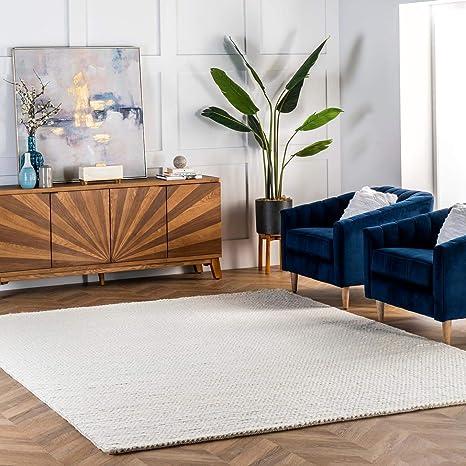 Amazon Com Nuloom Caryatid Handwoven Solid Wool Area Rug 8 X 10 Off White Furniture Decor