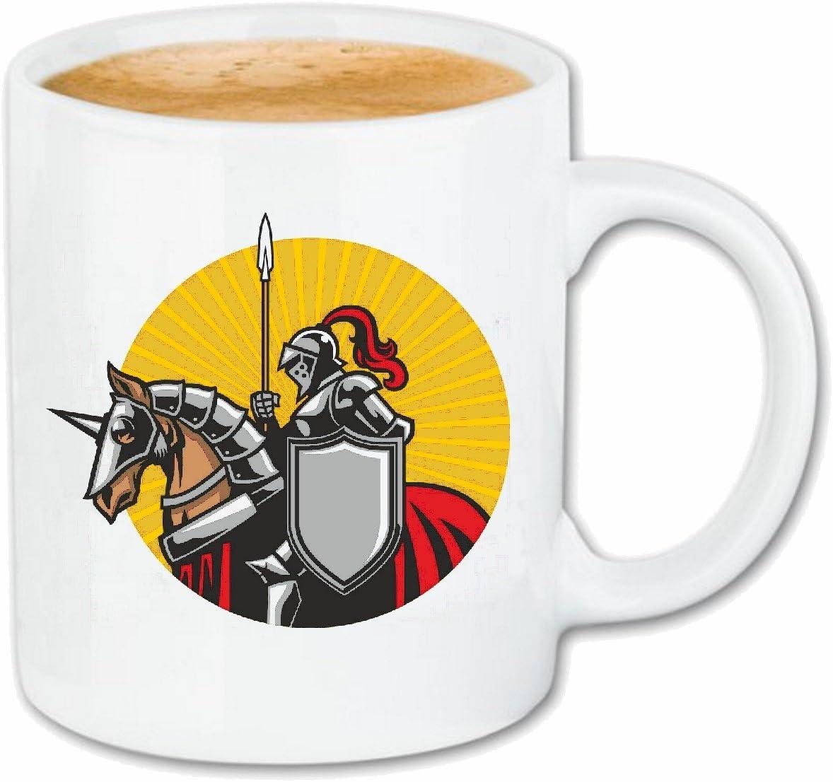 taza para café Logotipo del caballero CON EL CABALLO KNIGHTSWORD KNIGHT KNIGHT ARMOUR Ritterburg CASCO PROTECTOR Caso duro de la cubierta Teléfono Cubiertas cubierta para el330 ml de cerámica en blan