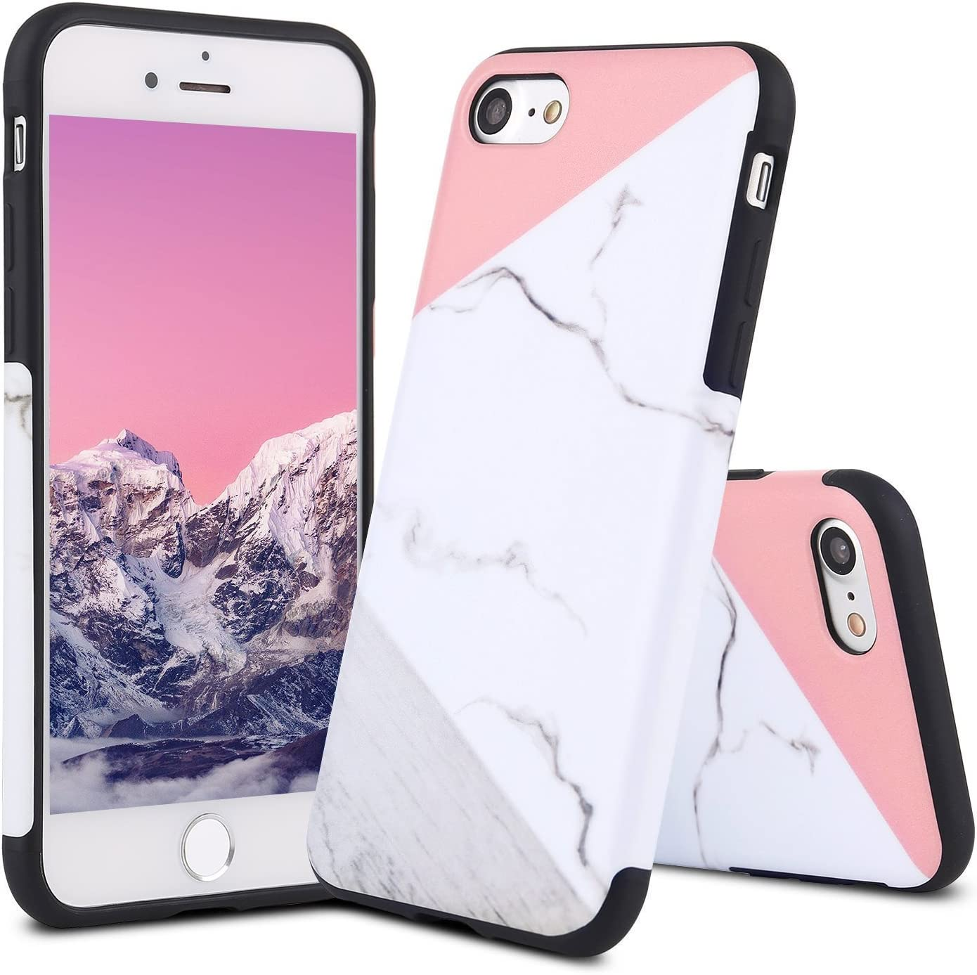for iPhone 5S Case/iPhone SE Case,L-FADNUT Premium Slim Fitted Granite Marble Natural Stone Soft TPU Cover, Glossy Texture Pattern Anti-Scratch Back Protective Bumper Case Cover for iPhone 5 Pink