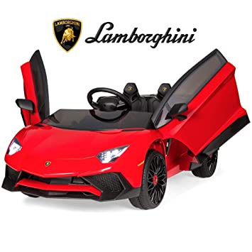 Best Choice Products Kids 12V Ride On Lamborghini Aventador SV Sports Car  Toy w/ Parent Control, AUX Cable, 2 Speeds, LED Lights, Sounds , Red