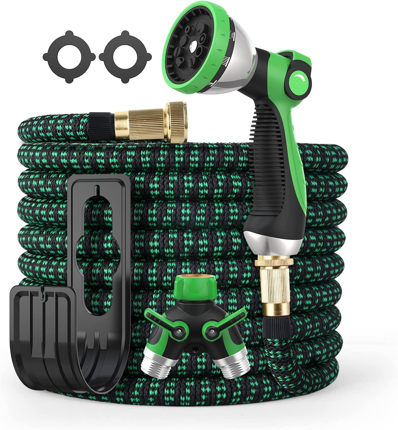 Hose Expandable Garden Hose 10 Function Zinc Sprayer Water Hose with Slide Switch, 75FT Garden Hose Heavy Duty with 2-Way Splitter, Flexible Hose with Leakproof 3/4