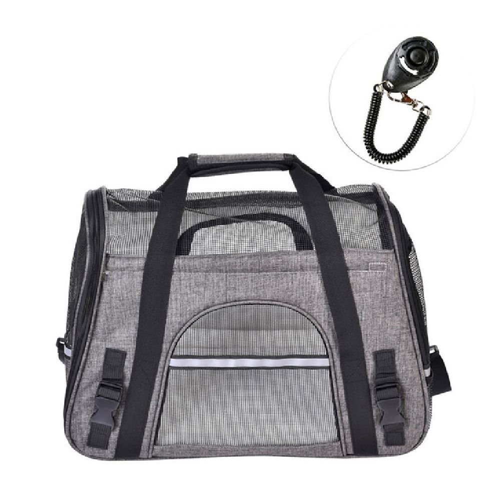 Airline Approved Pet Travel Bags Portable Breathable Single Shoulder Strap For Pet Carrier With Training Clicker