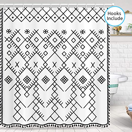 JAWO Boho Shower Curtain for Bathroom Fabric Bathroom Curtain with Hooks Black and White Geometric Pattern Tribal Moroccan Bohemian Design for Modern Boho Style Shower Curtain