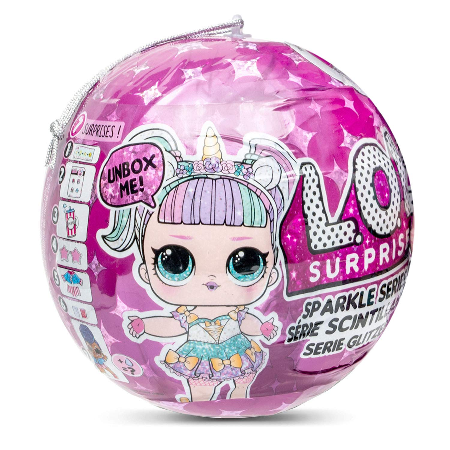 LOL Surprise 560296E7C Sparkle Series with Glitter Finish and 7 Surprises, Multi