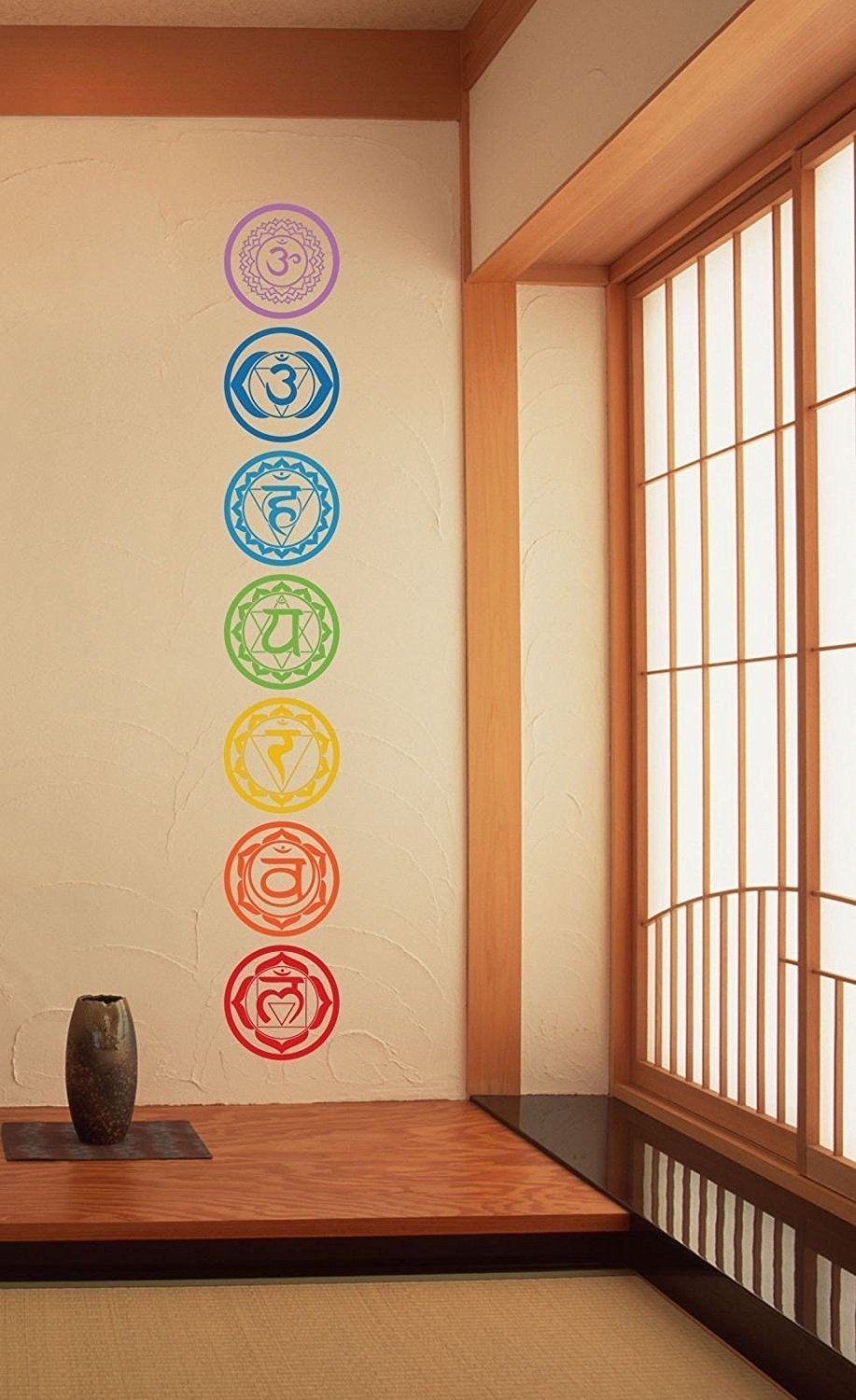 7pcs//set Chakras Symbols Removable Vinyl Wall Stickers Mandala Yoga Om Meditation Creative Wall Decals Art Home Decor YD008