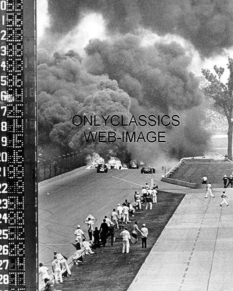 EDDIE SACHS DAVE MacDONALD FATAL ACCIDENT 1964 INDY 500 8 X 10 PHOTO