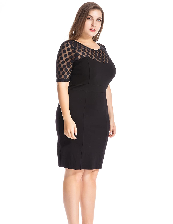 66c3d313818 Chicwe Women s NR Ponte Plus Size Shift Dress with Jacquard Lace Top 30  Black  Amazon.co.uk  Clothing