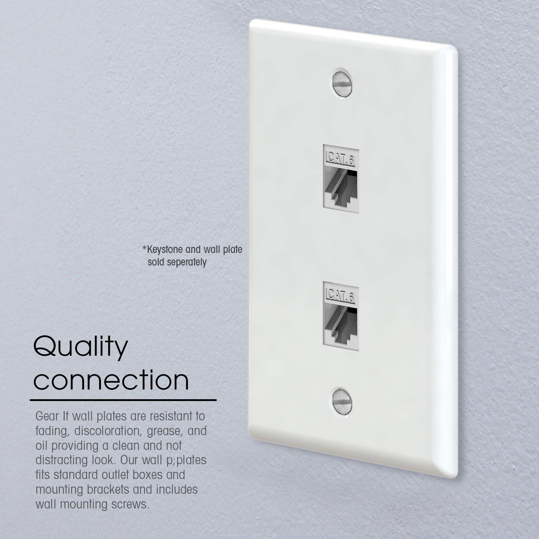 amazoncom ethernet wall plate gearit 10pack 2 port cat6 rj45 wall plate keystone jack white home improvement
