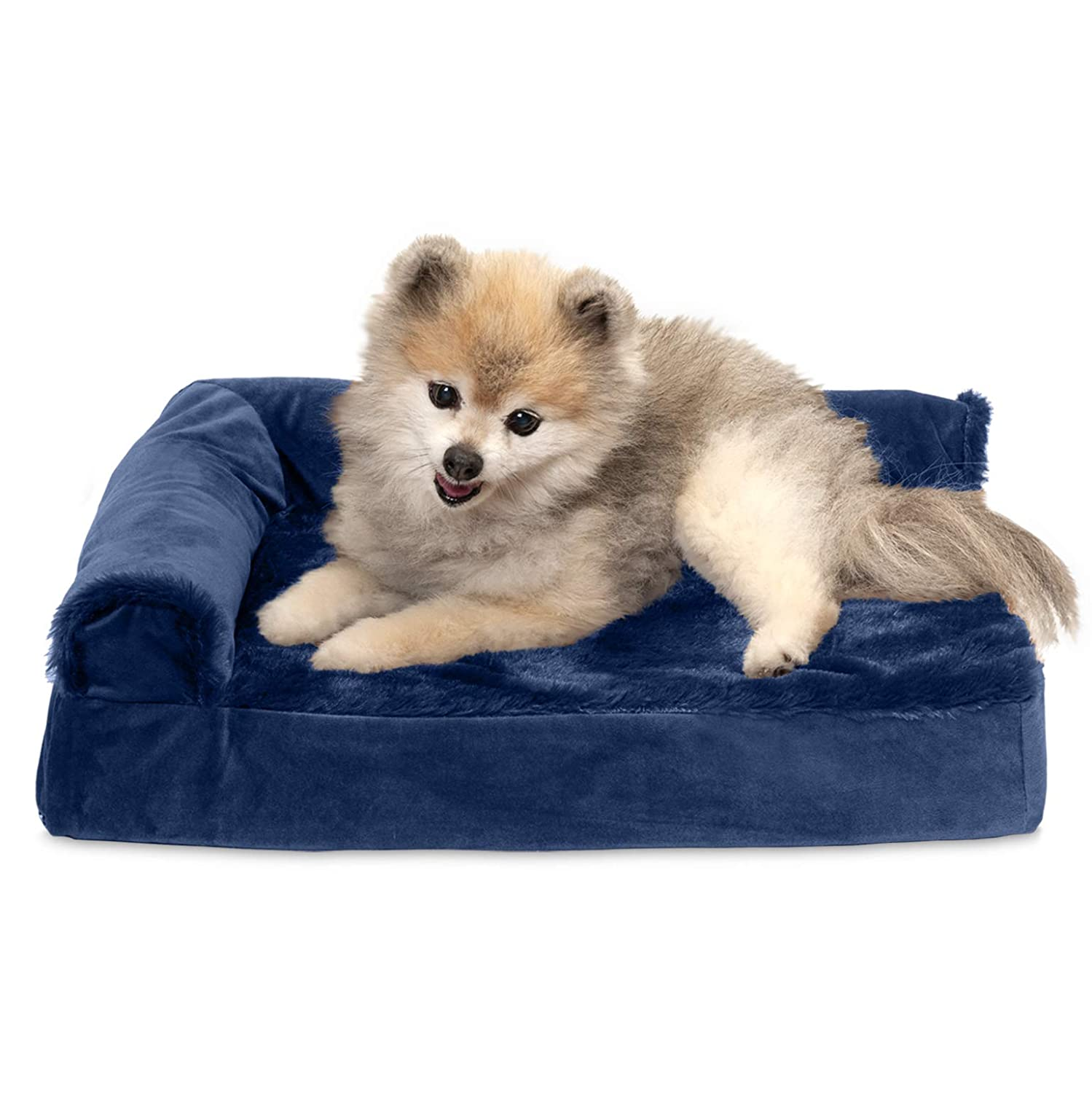 Two Sided-Deep Sapphire Small Two Sided-Deep Sapphire Small Furhaven Pet Dog Bed   Deluxe Cooling Gel Memory Foam Orthopedic Plush & Velvet L-Shaped Lounge Pet Bed for Dogs & Cats, Deep Sapphire, Small