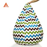 Multi Color Zig zag Pattern Digitally Printed Canvas Bean Bag with Beans Filled XXXL Offer by Aart