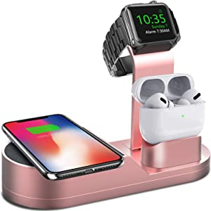 Deszon Wireless Charger iWatch Stand Compatible with iWatch Series SE 6 5 4 3 2 1, AirPods Pro Airpods and iPhone Series 12 SE 11 11 pro 11 Pro Max Xs X Max XR X 8 8P(No Adapter) Rose Gold