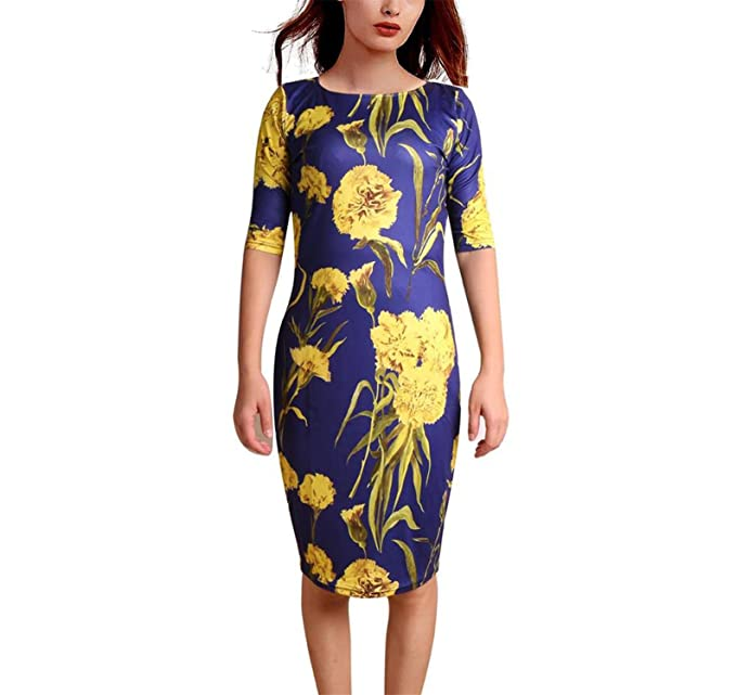 COOCOl Women Dress Vestidos Elegant Floral Print Work Business Casual Party Pencil Sheath Esp004 10Color S