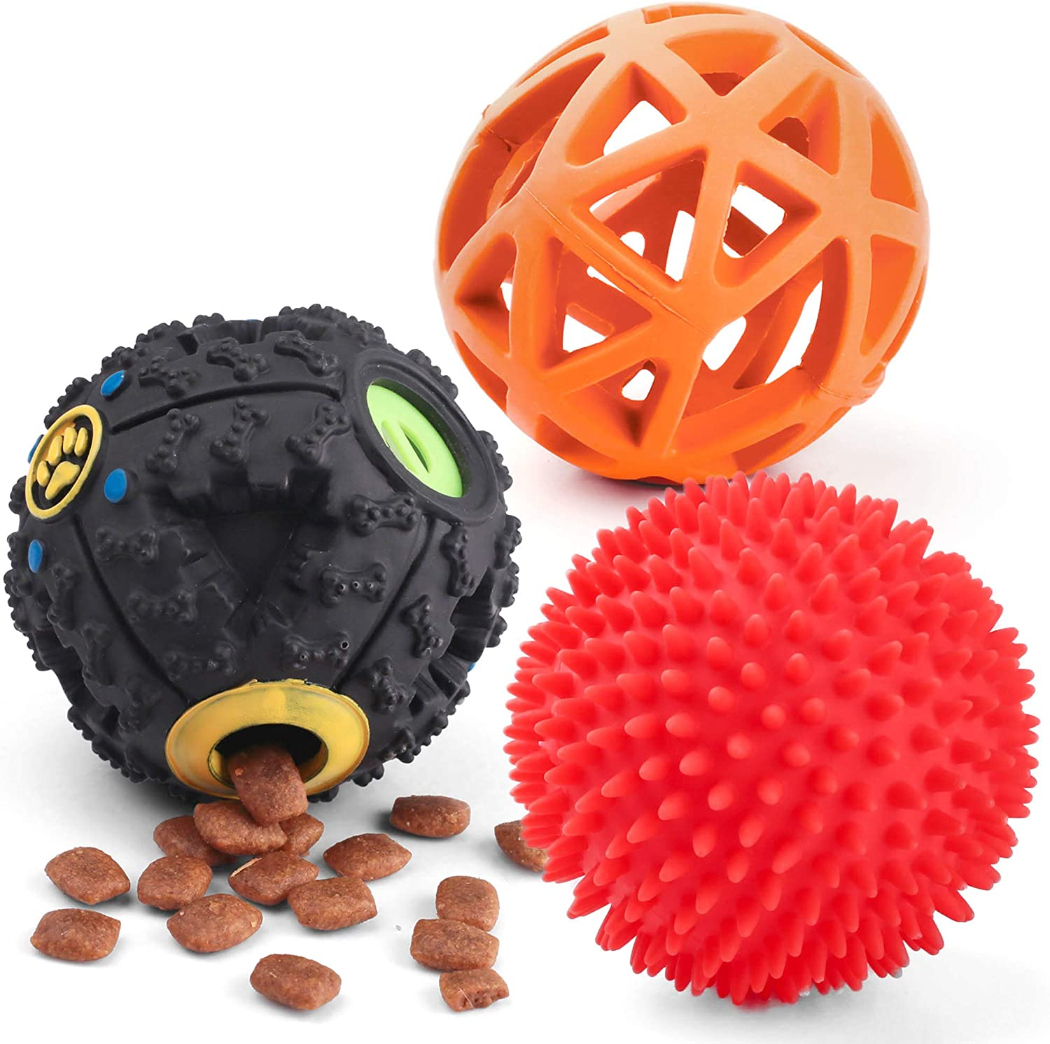 3Pack Dog Treat Ball, Interactive Food Dispensing Dog Toy, Dog Puzzle Toys for Boredom, Dog Squeaky Balls, Non-Toxic Interactive Dog Toys, Dog Teething Toys for Puppy Small Dog Training and Playing