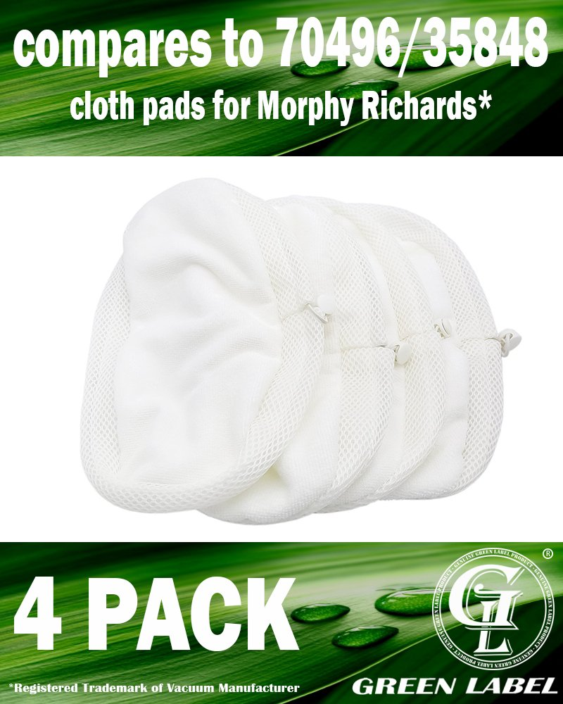 Lot de 4 : Lingettes microfibres de rechange pour les nettoyeurs vapeur Morphy Richards 70495, 720020, 720021, 720022, 720023, 720502 (alternative à 70496, 35848). Produit Green Label authentique