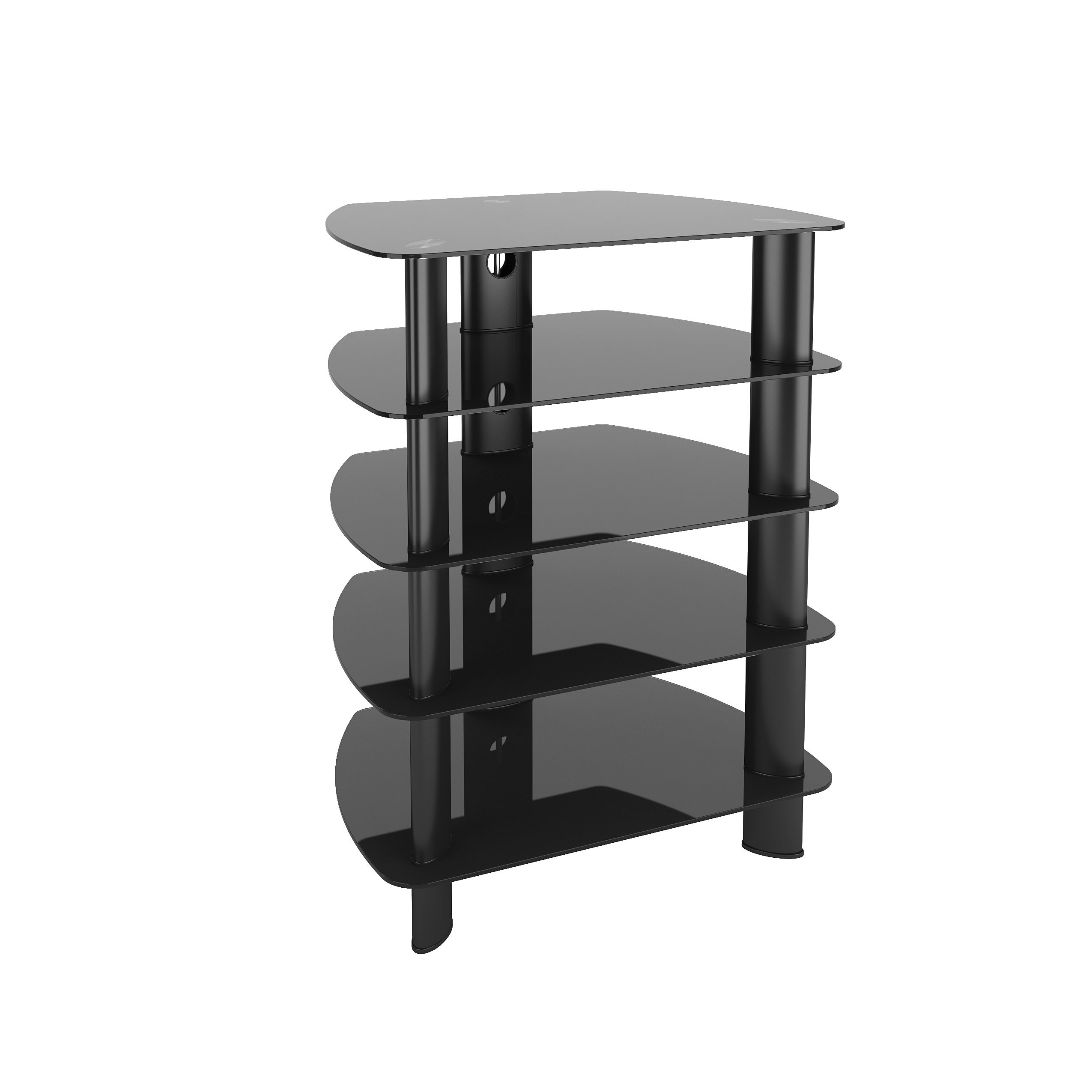 CorLiving TRL-801-C Laguna Satin Black Glass Component Stand Shelves, Audio Video Component Storage