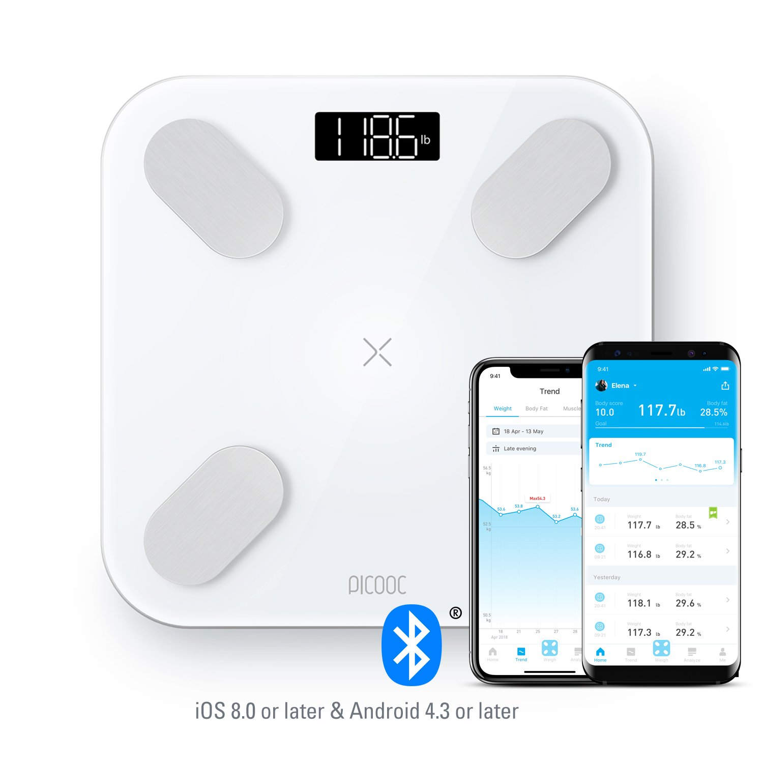 PICOOC Big PRO Bluetooth Smart Body Fat Scale, Wireless Digital Bathroom Scale with iOS & Android App, Body Composition Analyzer, Instant Readout, 13 Measurements for Body Fat, BMI, BMR & More, White