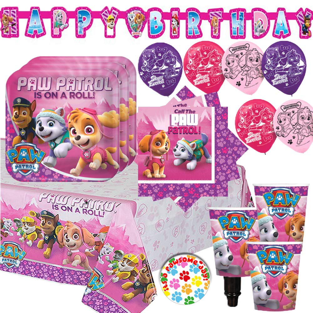 Girl Paw Patrol Party Supplies and Decorations Pack for 16 With Plates, Napkins, Tablecover, Cups, 6 Balloons, Birthday Banner, and Exclusive Paw Birthday Pin By Another Dream!