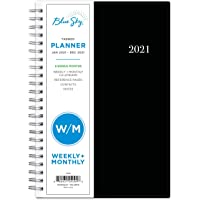 """Blue Sky 2021 Weekly & Monthly Planner, Flexible Cover, Twin-Wire Binding, 5"""" x 8"""", Enterprise (124094)"""