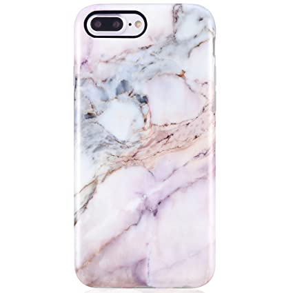 VIVIBIN iPhone 8 Plus Case for Women,iPhone 7 Plus Phone Case,Cute Purple  Pink Marble for Girls Clear Bumper Best Protective Soft Silicone Rubber