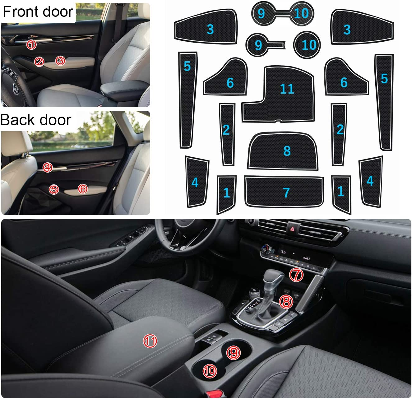Interior Gate Slot Pad Slip Protection Cup Mats Rubber Non-Slip Dust Mat Kit Auto Decoration Accessories TDPQR Car Door Groove Mat Non-Slip Door Slot Pad for Peugeot 5008 SUV 2017-2020