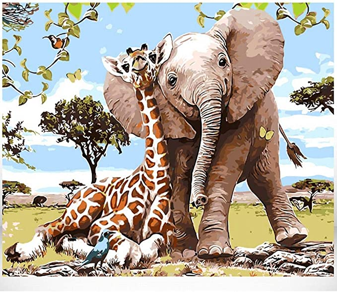 DIY Painting by Numbers kit Canvas Giraffe painting for adults and kids Vibrant colorful Giraffe
