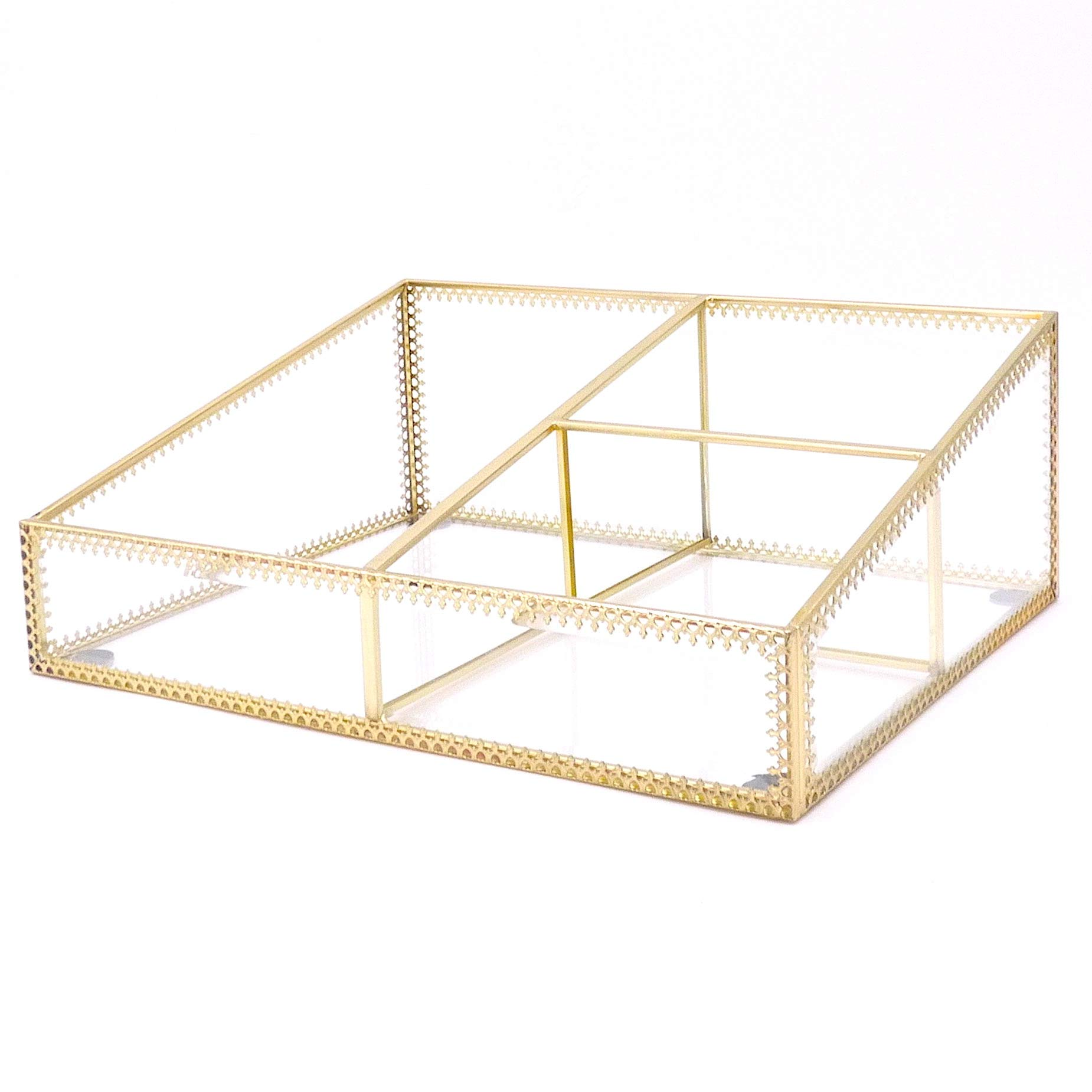 JC MAN Glass Vanity Tray, Gold Makeup Organizer, Perfume Storage, Cosmetic Products Display, Gold Mirrored Vanity Tray