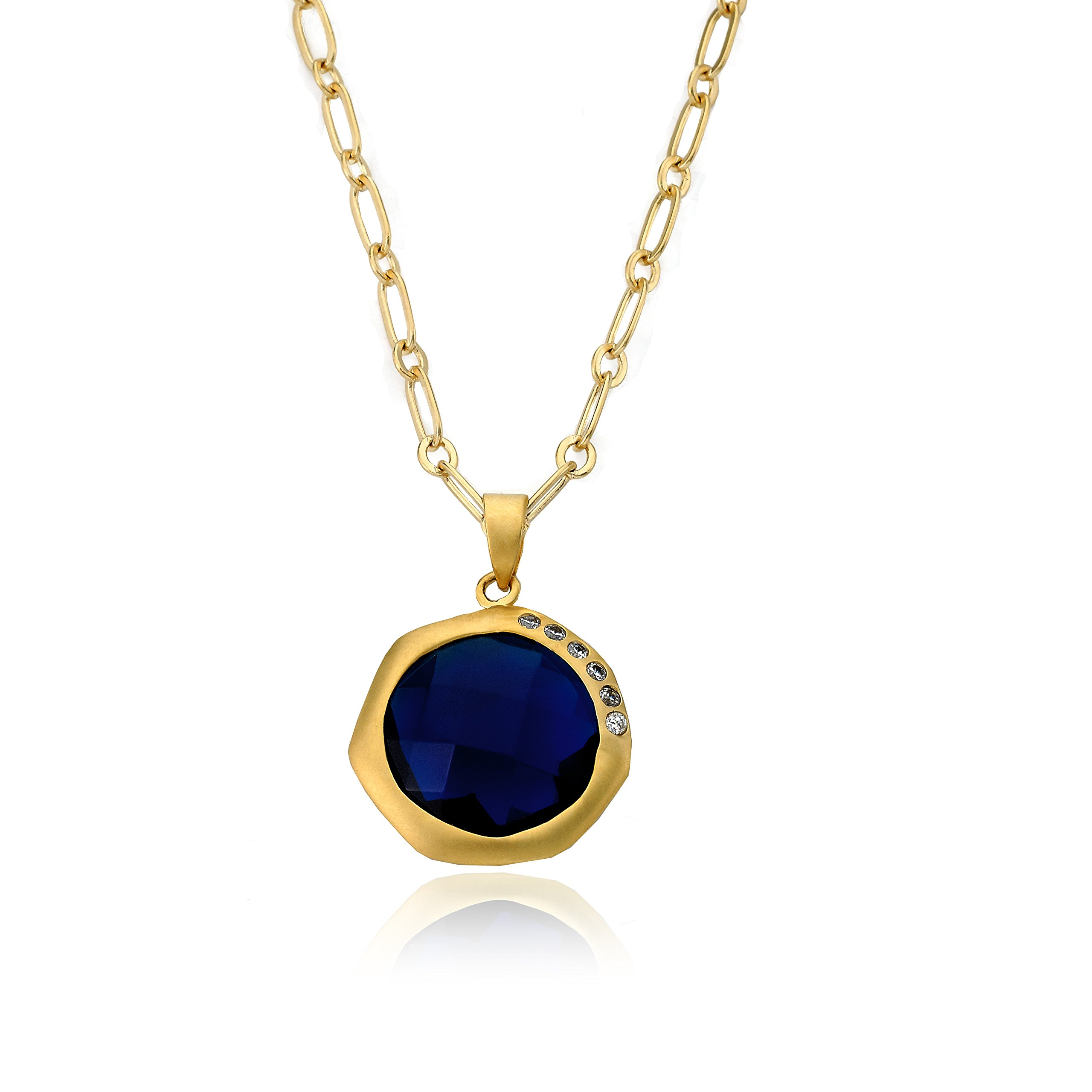 Riccova City Lights Satin 14k Gold-Plated Cubic Zirconia Multi-Faceted Blue Stone Pendant Necklace