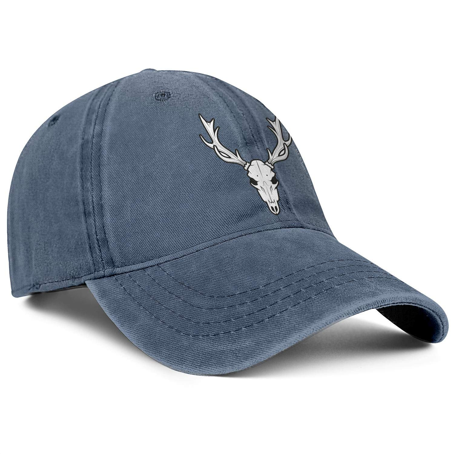 HURSUEE Man Women Denim Deer Skull Design Caps Cowboy Hats Trendy Hiking Cap