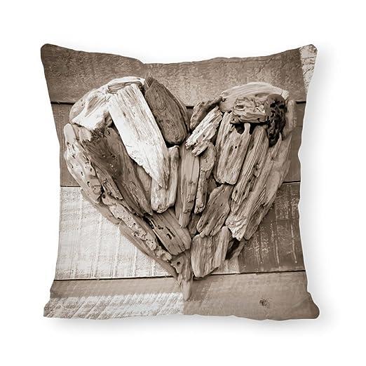Popeven Funda de cojín de Madera con diseño de corazón para ...