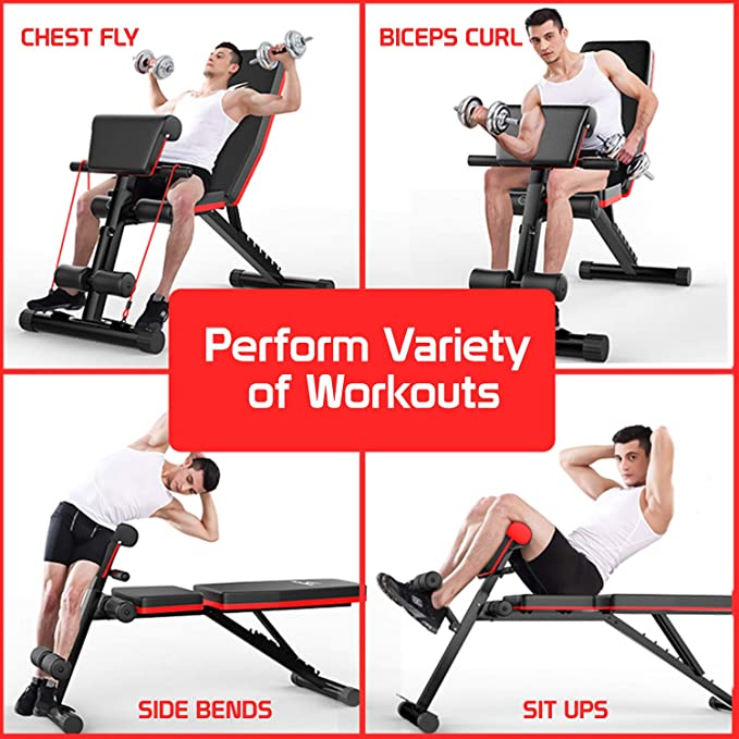 Weight Flat Bench Chest Biceps Press Abs Gym Fitness Weight Lifting Workout E