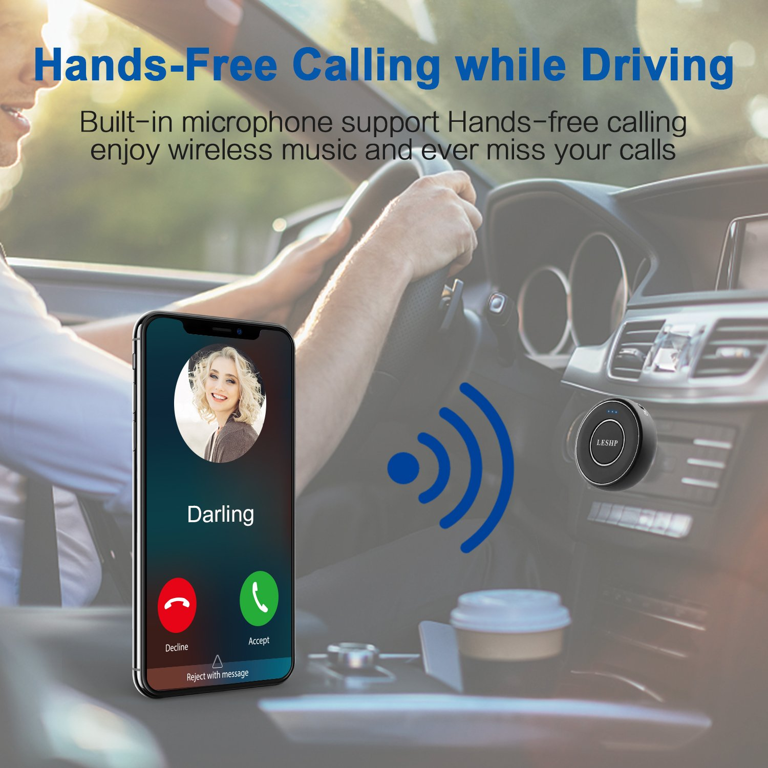 Wireless Stereo Audio Music Bluetooth 4.1 Transmitter and Receiver Adapter for Car Amplifier, TV, PC, Home, Headphones, Speakers  - 3.5mm Output Port, Bluetooth 4.1, Long Battery Powered, Black