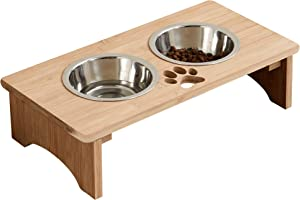 MRECHIR Raised Pet Bowls for Cats and Dogs, Bamboo Elevated Dog Cat Food and Water Bowls Stand Feeder for Small to Large Dogs and Cats(4'' Tall)